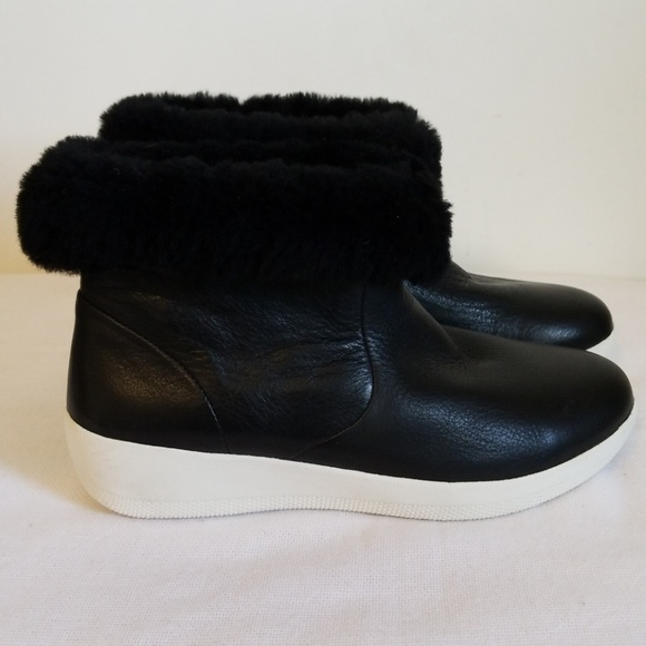 153969fdc4bf Fitflop Black Leather Skate Bootie Fur New